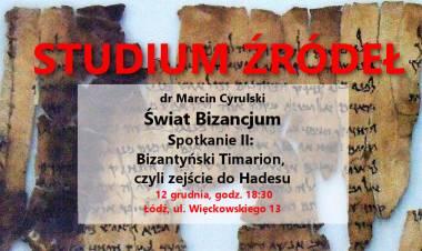 Studium źródeł: Bizantyński Timarion, czyli zejście do Hadesu